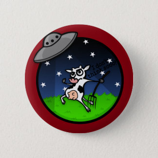 FUNNY CARTOON COW ALIEN UFO ABDUCTION BUTTON