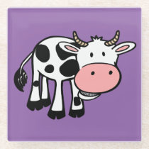 Funny Cartoon Cow Glass Coaster