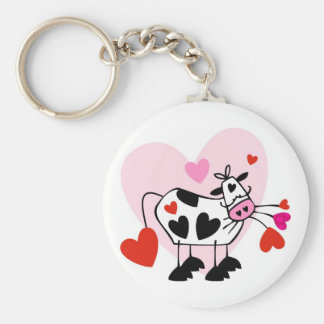 Funny cartoon cow mad love keychain