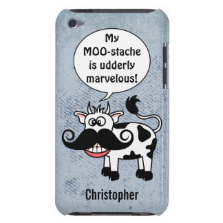 Funny Cartoon Cow Mustache Personalized Barely There iPod Cover
