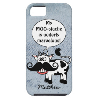 Funny Cartoon Cow Mustache Personalized iPhone SE/5/5s Case