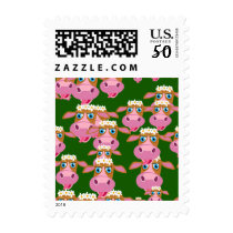 Funny Cartoon Cow Pattern Postage