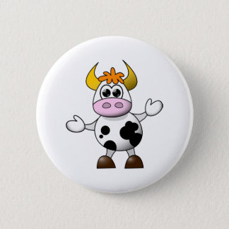 Funny Cartoon Cow Pinback Button