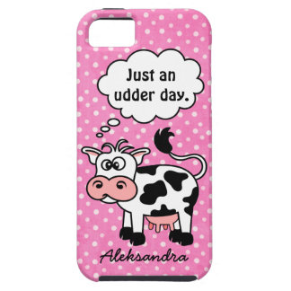 Funny Cartoon Cow Pink Polka Dot Personalized iPhone SE/5/5s Case