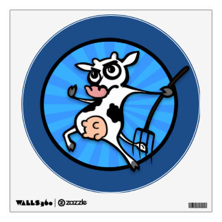 FUNNY CARTOON COW ROUND WALL DECAL