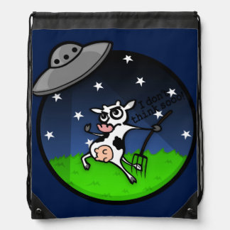 FUNNY CARTOON COW UFO ABDUCTION BACKPACK