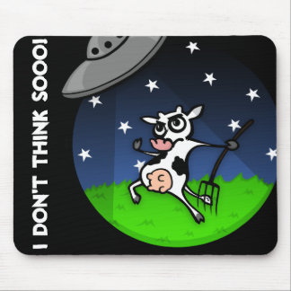 FUNNY CARTOON COW UFO ABDUCTION MOUSE PAD