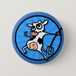 FUNNY CARTOON COW WITH PITCH FORK BUTTON