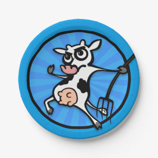 FUNNY CARTOON COW WITH PITCH FORK PAPER PLATE