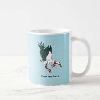 Funny Cartoon Crane Wearing A Scarf Coffee Mug