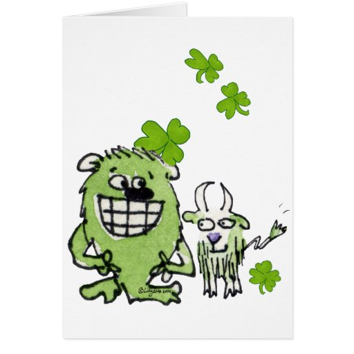 Funny Cartoon Creatures St. Paddys Day Greeting Ca Greeting Cards