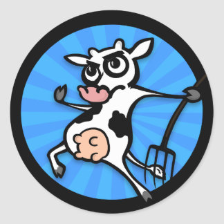 FUNNY CARTOON DAIRY COW GRAPHIC ROUND STICKERS