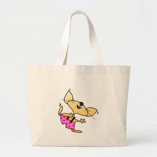 Funny Cartoon Dancing Rat Tote Bags