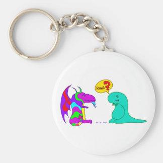 Funny Cartoon Dinos Cute Dinosaur Dragon Rawr? Basic Round Button Keychain