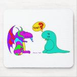 Funny Cartoon Dinos Cute Dinosaur Dragon Rawr? Mousepad