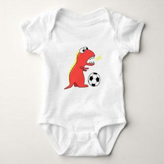 Funny Cartoon Dinosaur Playing Soccer Baby Baby Bodysuit