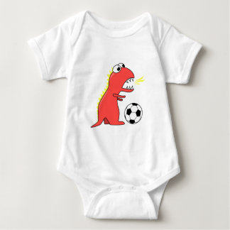 Funny Cartoon Dinosaur Playing Soccer Baby T Shirt