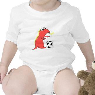 Funny Cartoon Dinosaur Playing Soccer Baby Bodysuit
