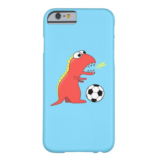 Funny Cartoon Dinosaur Playing Soccer Barely There iPhone 6 Case