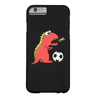 Funny Cartoon Dinosaur Playing Soccer Black Barely There iPhone 6 Case