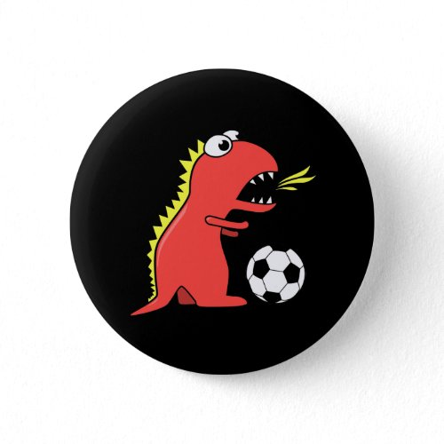 Funny Cartoon Dinosaur Playing Soccer Black Pinback Buttons