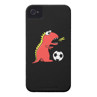 Funny Cartoon Dinosaur Playing Soccer Black Case-Mate iPhone 4 Cases