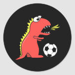 Funny Cartoon Dinosaur Playing Soccer Black Classic Round Sticker