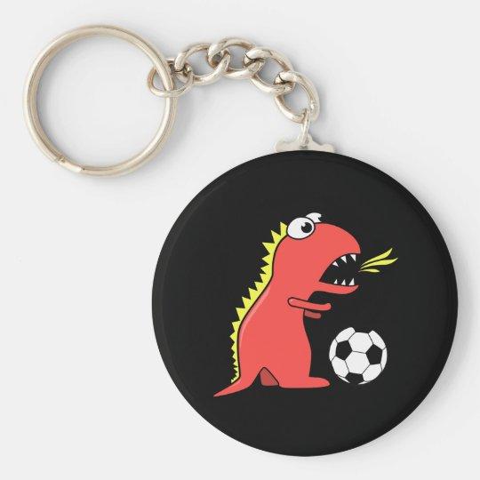 Funny Cartoon Dinosaur Playing Soccer Black Keychain