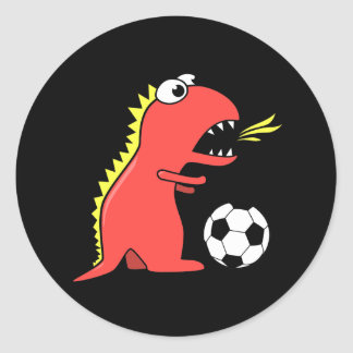 Funny Cartoon Dinosaur Playing Soccer Black Classic Round Sticker