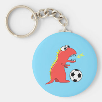 Funny Cartoon Dinosaur Playing Soccer Keychain