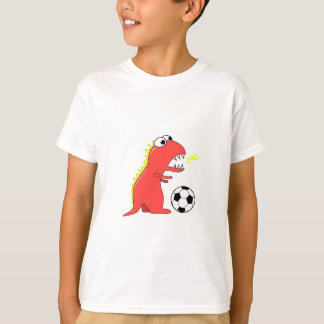 Funny Cartoon Dinosaur Playing Soccer Kids T-Shirt
