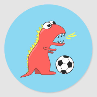 Funny Cartoon Dinosaur Playing Soccer Classic Round Sticker