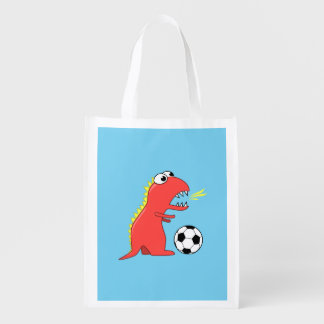 Funny Cartoon Dinosaur Soccer Grocery Bag