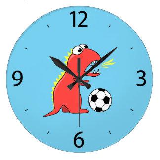 Funny Cartoon Dinosaur Soccer Kids Large Clock