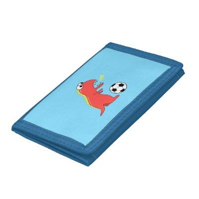 Funny Cartoon Dinosaur Soccer Kids Tri-fold Wallets