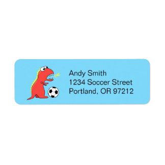 Funny Cartoon Dinosaur Soccer Label