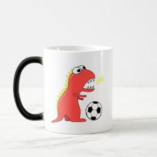 Funny Cartoon Dinosaur Soccer Magic Mug