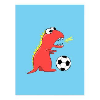 Funny Cartoon Dinosaur Soccer Postcard