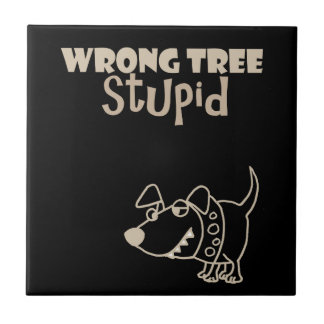 Funny Cartoon Dog Barking up the Wrong Tree Ceramic Tile