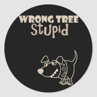 Funny Cartoon Dog Barking up the Wrong Tree Classic Round Sticker