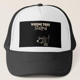 Funny Cartoon Dog Barking up the Wrong Tree Trucker Hat