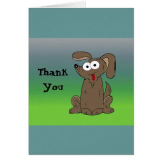 Funny Cartoon Dog Thank You Greeting Card