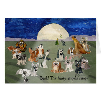 Funny Cartoon Dogs Moon Holiday Card