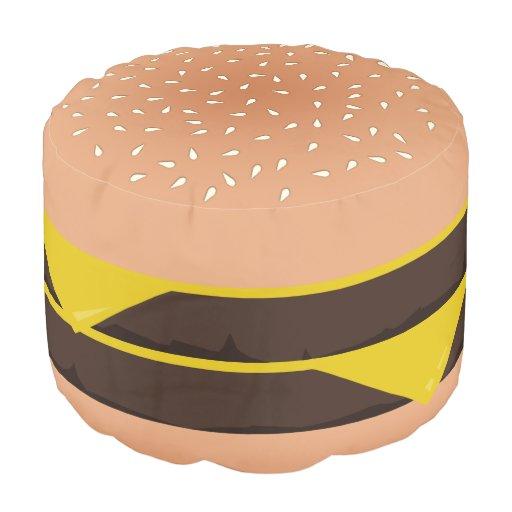 Funny Cartoon Double Cheeseburger Pouf Zazzle