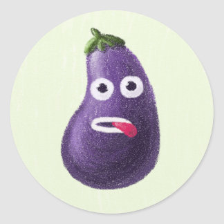Funny Cartoon Eggplant Character Classic Round Sticker