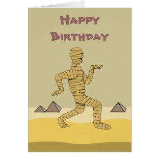 Funny Cartoon Egyptian Mummy Pyramids Custom Greeting Card