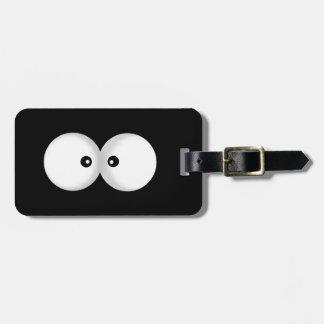 funny cartoon eyes luggage tag