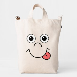 Funny Cartoon face Duck Canvas Bag