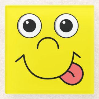 Funny Cartoon face Glass Coaster