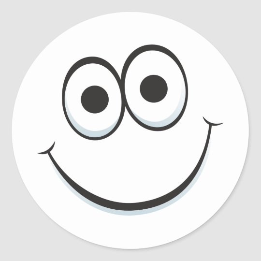funny cartoon face with big happy smile stickers zazzle com rh zazzle com happy cartoon face vector happy cartoon face vector free